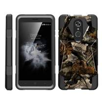 TurtleArmor | Compatible with ZTE Max XL Case | ZTE Blade Max 3 Case | ZTE Max Blue Case [Dynamic Shell] Hybrid Dual Layer Hard Shell Kickstand Silicone Case - Tree Leaves Camouflage