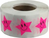 Fluorescent Pink Happy Face Star Shape Stickers 0.75 Inch 500 Adhesive Labels