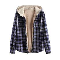 ZAFUL Casual Plaid Fleece Jacket Flannel Lined Unisex Men Drawstring Hooded Fuzzy Hoodie