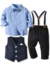 LAPA Baby Boy Gentleman Outfit with Formal Shirt Bow Tie Vest Pants Wedding Tuxedo Suit 6 Months - 6 Years Toddler