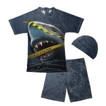 chaqlin Baby Boys Kids 2-Pieces Shark Rashguard Swimsuit Short Sleeve Sun Protection Swimwear Underwater Shark Design Blue 7-8 Years