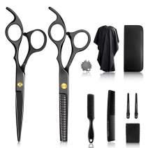 10Pcs Hair Cutting Scissors Set, Professional with Hairdressing Scissors Kit, Hair Cutting Scissors, Thinning Shears, Hair Razor Comb, Clips, Cape, Shears Kit for Home, Salon, Barber