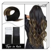 "Easyouth Tape in Hair Extensions Balayage Color Off Black Fading to Middle Brown Highlights with Honey Blonde (12"" 30g) Real Human Hair, Tape on Hair Adhesive Hair Extensions for Party"