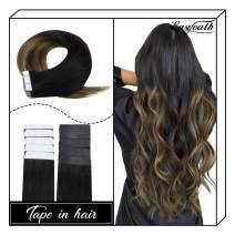 """Easyouth Tape in Hair Extensions Balayage Color Off Black Fading to Middle Brown Highlights with Honey Blonde (12"""" 30g) Real Human Hair, Tape on Hair Adhesive Hair Extensions for Party"""