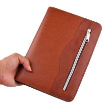 WITERYZippered Business Portfoliowith Calculator 80 Sheets PU Leather Portfolio Binder & Organizer Folder with Expandable Document Pocket Pen Slot 6 Ring Binder (Brown)