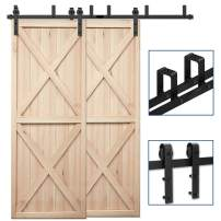"CCJH 20FT Bypass Double Door Sliding Barn Door Hardware Kit Black, Strong Bearing, U-Shape Bracket System, Fit 120"" Wide Door Panel (Basic Style)"