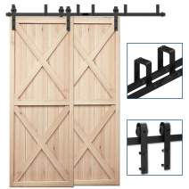 "CCJH 20FT Bypass Double Door Sliding Barn Door Hardware Kit Black, Strong Bearing, U-Shape Bracket System, Fit 120"" Wide Door Panel (Basic Style)"