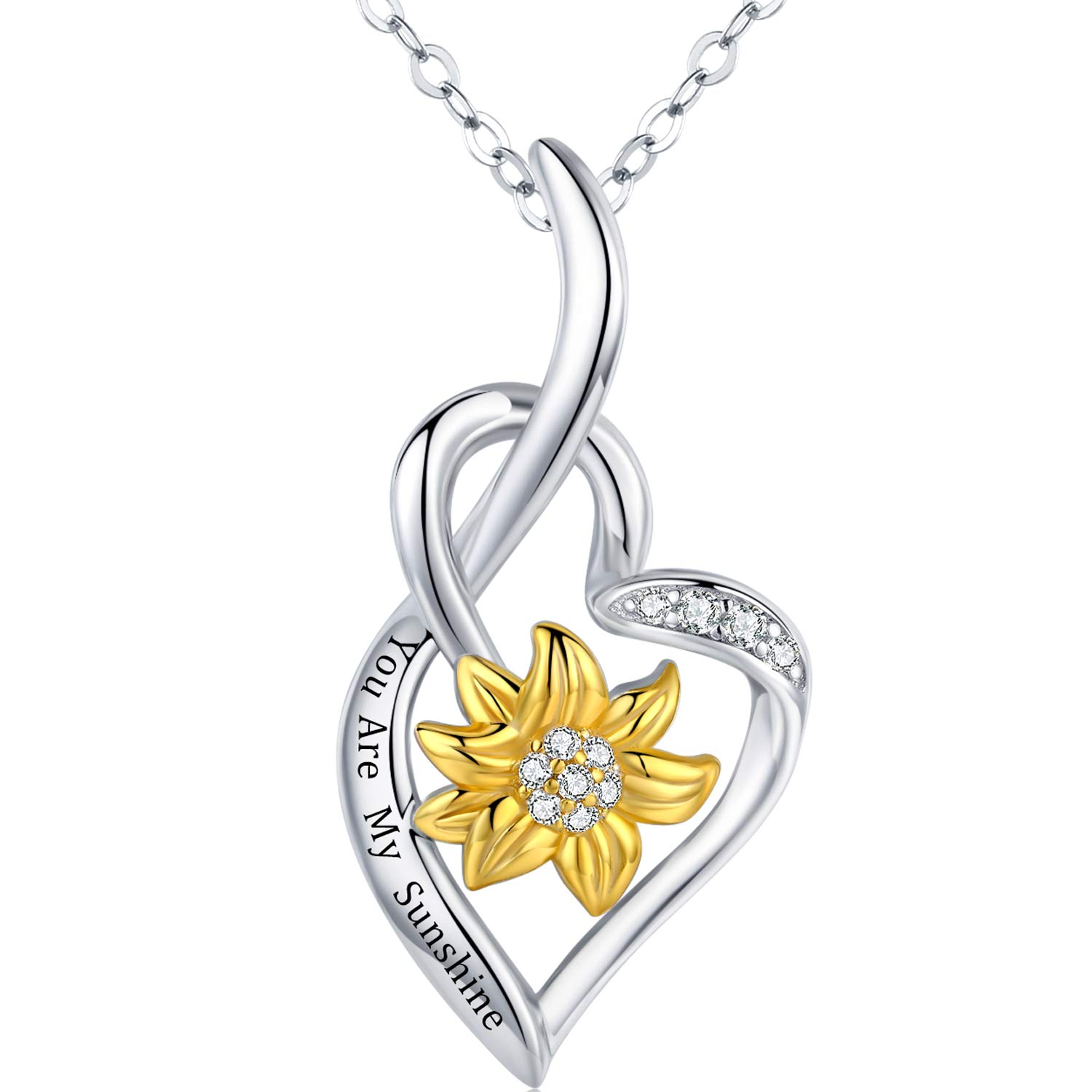 PRAYMOS Sunflower Necklace 925 Sterling Silver You are My Sunshine Necklace Heart Pendant Engraved Jewelry Anniversary Birthday Gifts for Her Women