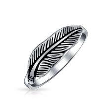 Native American Style Boho Feather Leaf Band Ring For Women For Teen Oxidized 925 Sterling Silver