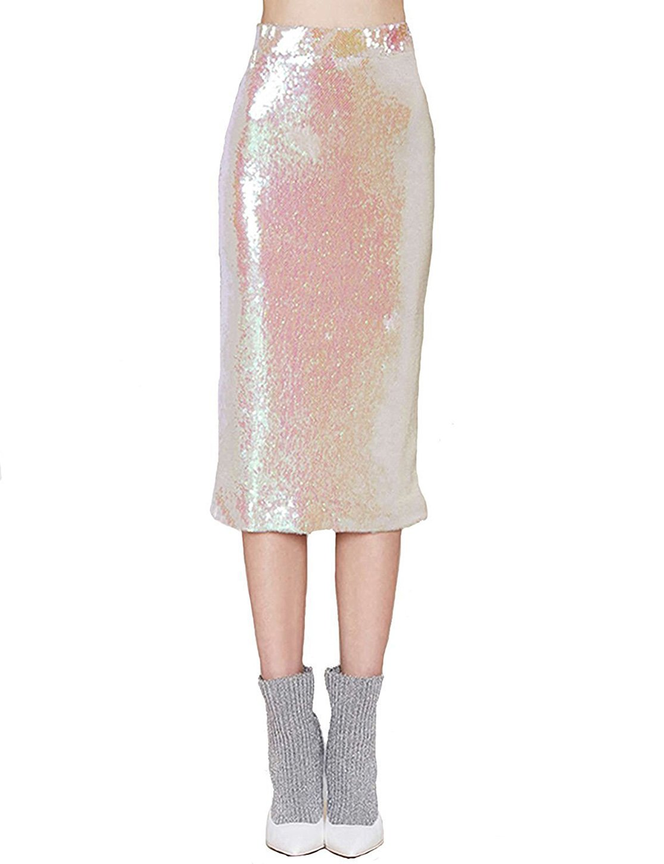 IRISIE Women Sexy Flashy Sequin High Waist Midi Pencil Skirt