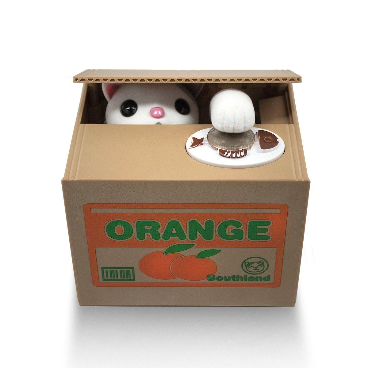 Matney Stealing Coin Cat Box- Piggy Bank - White Kitty - English Speaking