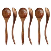 Wooden Spoons for Eating, ADLORYEA 6 Pieces Natural Wood Eating Spoon, 7 inch Eco-friendly Handmade Teaspoon for Dinner, Salad Desserts, Chips, Snacks, Cereal, Fruit