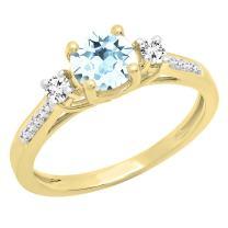 Dazzlingrock Collection 18K 5 MM Round Gemstone & Diamond Ladies 3 Stone Engagement Ring, Yellow Gold