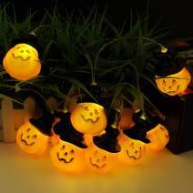 TOOWELL Halloween String Lights Jack-O-Lantern Pumpkin Lights Battery Operated 10LED 6.9ft Halloween Decorations Warm White for