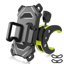 Bike Phone Mount,Motorcycle Cell Phone Holder,Universal Bicycle Handlebar with Rotation Adjustable Cycling Clamp Scooter Phone Clip for iPhone 12,X,8,7 Plus,Galaxy S9, S10
