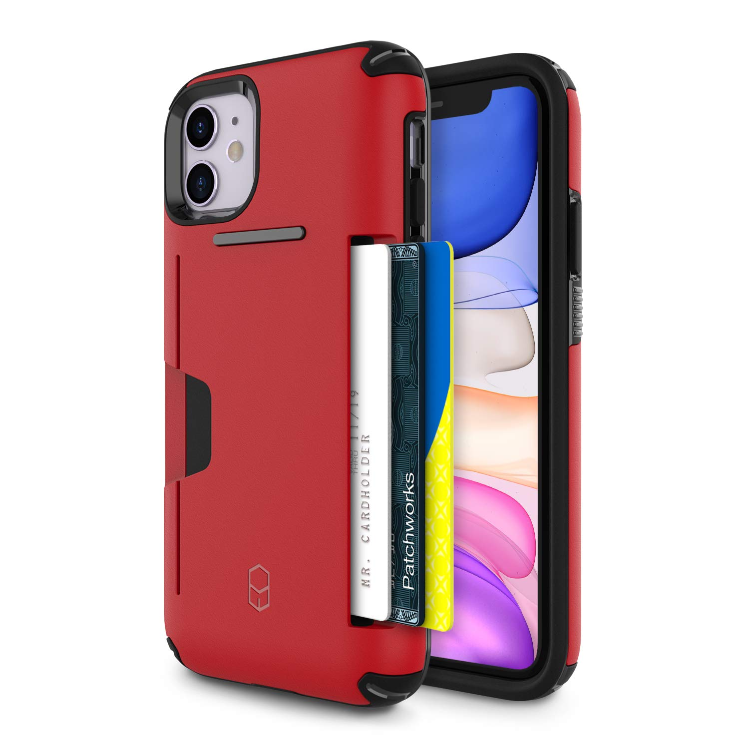 PATCHWORKS iPhone 11 Case [Level Wallet Series] Rugged Hybrid Shockproof Dual Layer TPU + PC Case [Military Grade Drop Test Certified] [Wireless Charging Compatible], Red