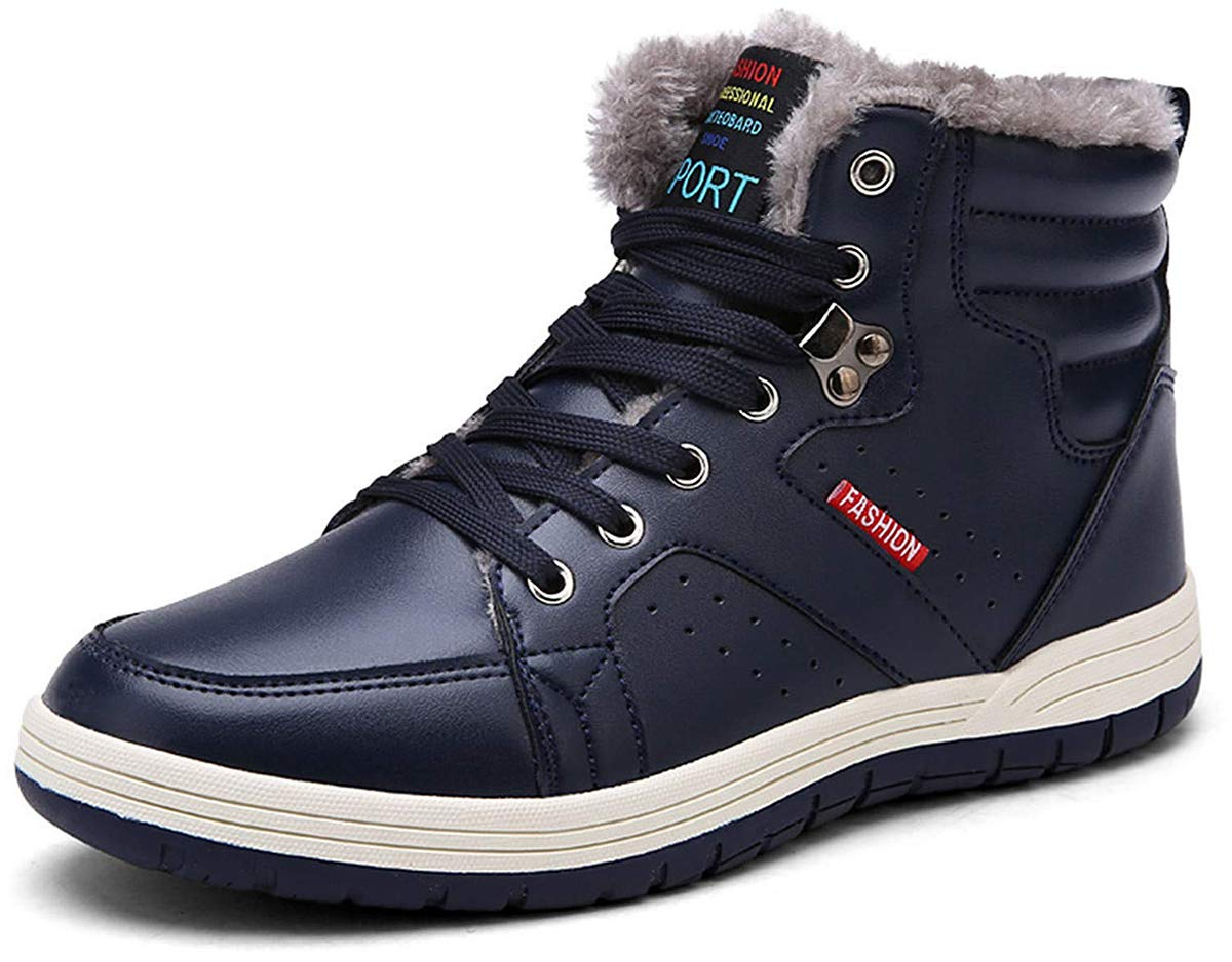 Eagsouni Mens Winter Snow Boots Womens Waterproof Ankle Booties Fur Lined Shoes Leather Outdoor High Top Sneakers