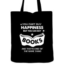 Book Lover Tote Bag, 100% cotton 12 Oz Reusable, Bibliophile Gifts, Reading Pillow Case, Book Worm Gift, Bookish, Funny Book Lover Quotes, Love to Read (happiness(black))