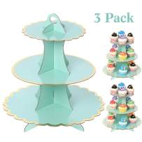 UltraOutlet Set of Three 3 Tiers Cardboard Cupcake Stands, Disposable Paper Cupcake Holder Towers for Weddings, Birthday Parties, Baby Showers and Graduations, Aqua, Green