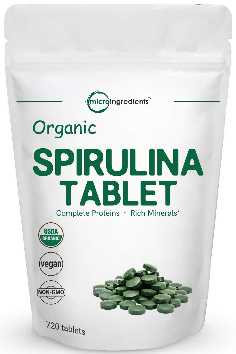 Organic Spirulina Supplement (Spirulina Organic), 3000MG Per Serving, 720 Tablets (4 Month Supply), Rich in Prebiotics, Immune Vitamins, Chlorophyll, Fiber, Proteins & Support Immune System