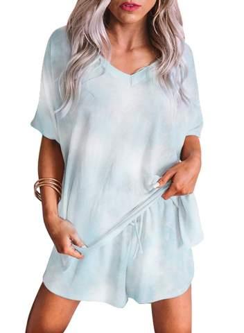 ninovino Men Pajama Set Summer Soft Striped Short Sleeve Button-Down Top Shorts Lounge Wear