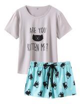 VENTELAN Pajamas for Women 2 Piece Cute Cat Sleepwear Pajama Sleep Set
