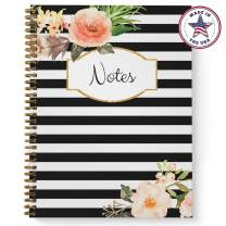 """Softcover Classic Floral Notes 8.5"""" x 11"""" Spiral Notebook/Journal, 120 College Ruled Pages, Durable Gloss Laminated Cover, Gold Wire-o Spiral. Made in The USA"""