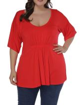 Allegrace Women Plus Size Top Pleated Front Short Sleeve V Neck Loose Summer T Shirt