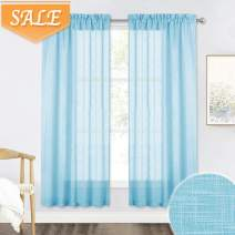 RYB HOME Privacy Sheer Curtains - Linen Texture Fabric Semi Sheer for Bedroom Window Drapesries Light Filtering for Laundry Bathroom, Baby Blue, 52 inch Wide x 72 inches Long, 2 Pcs