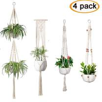 Accmor 4 Pcs Macrame Plant Hanger Indoor Outdoor Wall Hanging Plant Holder Hanging Stand Flower Pots Planter for Decorations - Boho Home Decor