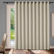 cololeaf Extra Wide Grommet Blackout Curtains Thermal Insulated Room Divider Wider Curtain Extra Wide Energy Efficient Sliding Patio Door Curtain Panel - Beige 200W x 84L Inch (1 Panel)