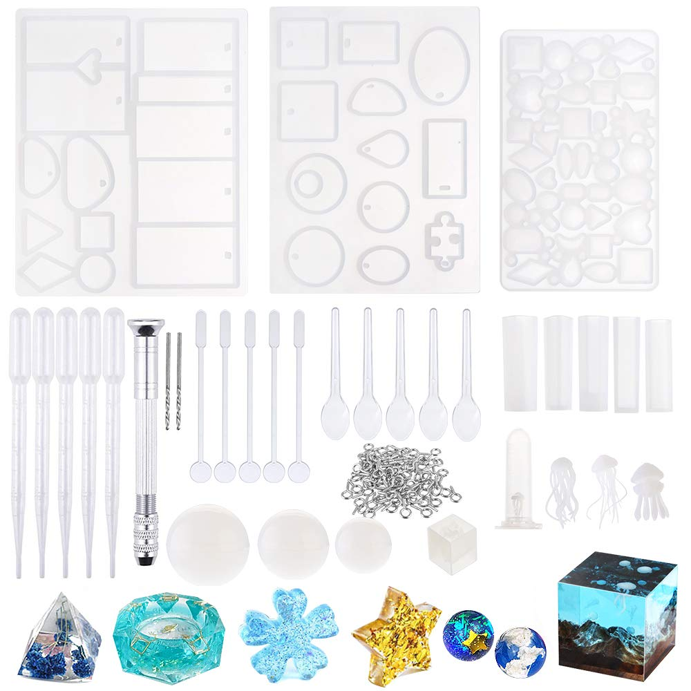 Souarts 59PCS Resin Molds DIY Silicone Molds for Resin Silicone Casting Molds Jewelry Craft Making Epoxy Resin Mold Jellyfish Cube Sphere