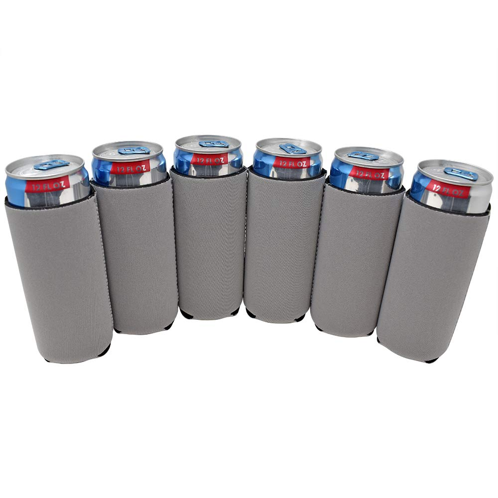 TahoeBay 6 Slim Can Sleeves - Blank Neoprene Beer Coolers – Compatible with 12oz RedBull, Michelob Ultra, White Claw Spiked Seltzer (Silver, 6)