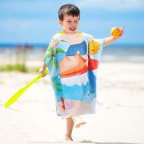 Tirrinia Kids Hooded Poncho Surf Beach Bath Swim Towel 100% Cotton for 1-6 Years Boys Gift, 24 by 52-inch