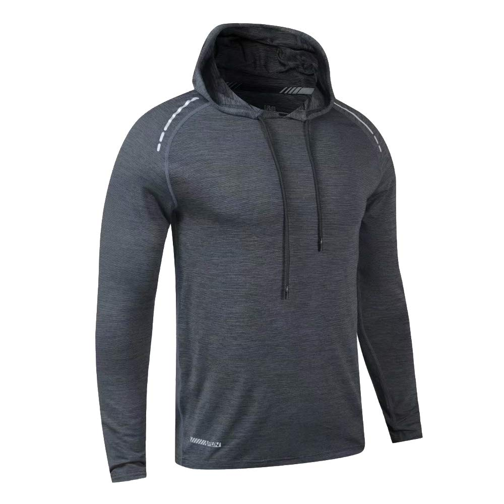 Muscle Alive Bodybuilding Long-Sleeve Hoodie Casual Sweatshirts Stretchy Cotton