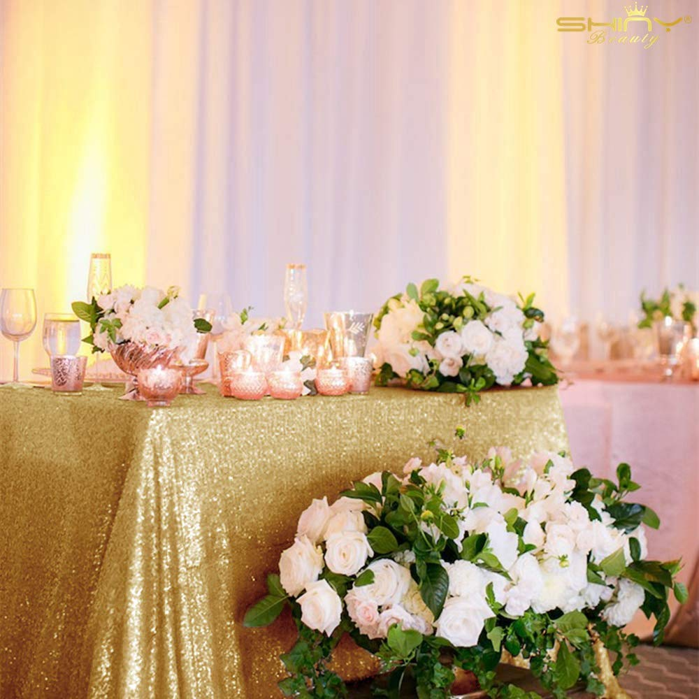 Beautiful Gold Table Cloth 60x102-Inch Rectangle Sequin Tablecloth Shiny Gold Table Cover Decorations for Weddings Party Baby Shower Decorations -0124S