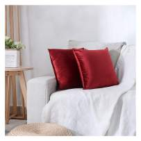 HPUK Pack of 2 Velvet Throw Pillow Cover Cozy Solid Pillowcase Decorative Cushion Cover for Couch Sofa Bedroom Office car, 26x26, Red