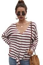 Carprinass Women's Casual Stripes Print Knot Front Knit Sweater Tops Cardigans