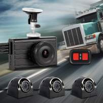 VSYSTO 4CH Dash Cam Recording Camera Recorder DVR Front 1080P Sides & Rear VGA for Semi Trailer Truck Van Tractor with Infrared Night Vision Lens, 3.0'' Monitor