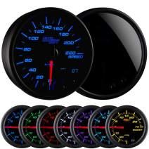 "GlowShift Tinted 7 Color 220 Kilometer KM Speedometer Gauge Kit - Mounts in Custom Dashboard - Resettable Trip Meter - Black Dial - Smoked Lens - 3-3/4"" 95mm"