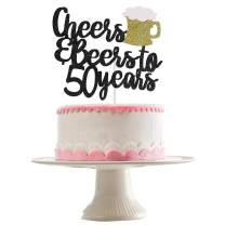 Black Glittery Cheers & Beers To 50 Years Cake Topper for 50th Birthday Party Wedding Anniversary Party Decoration Supplies