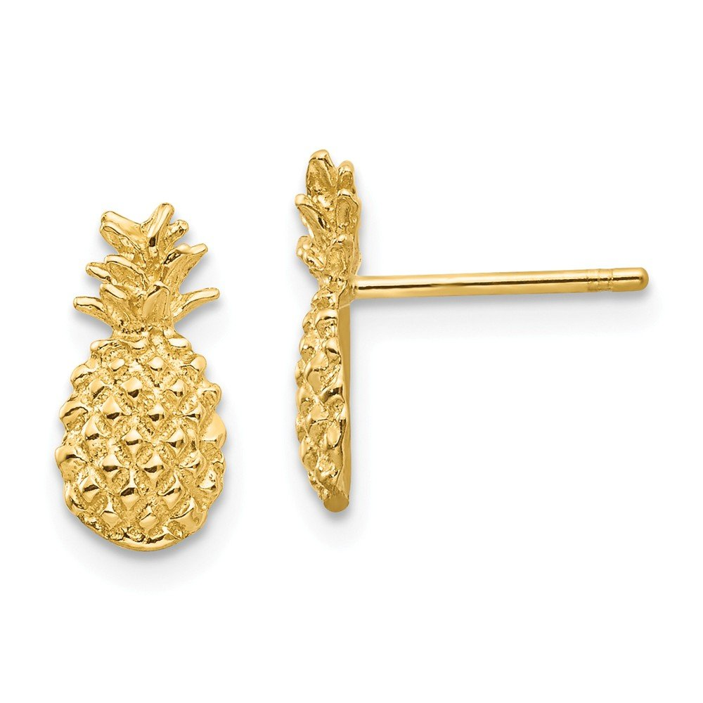 14k Yellow Gold Textured Pineapple Post Stud Earrings Ball Button Travel Fine Jewelry For Women Gifts For Her