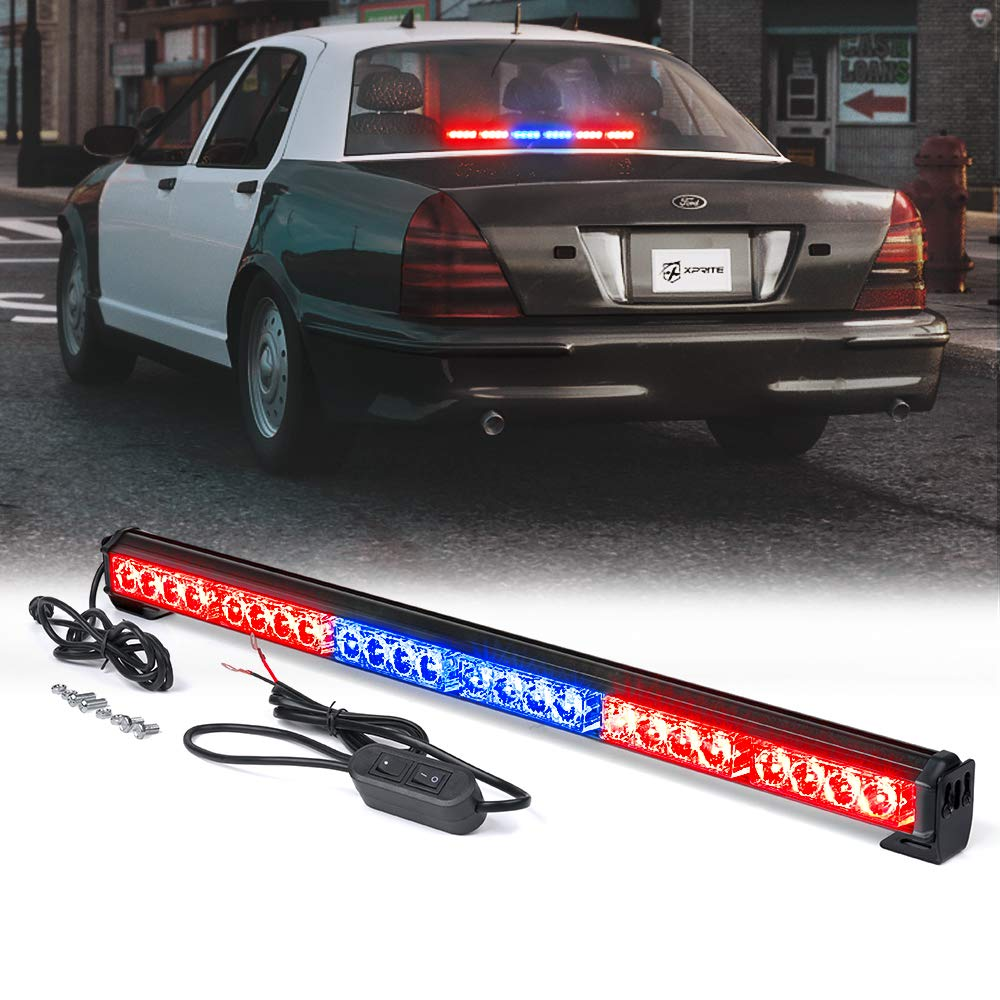 "Xprite 27"" Inch 24 LED Strobe Emergency Traffic Advisor Warning Light Bar w/ 13 Flashing Patterns for Firefighter Vehicles Trucks Cars - Red & Blue"