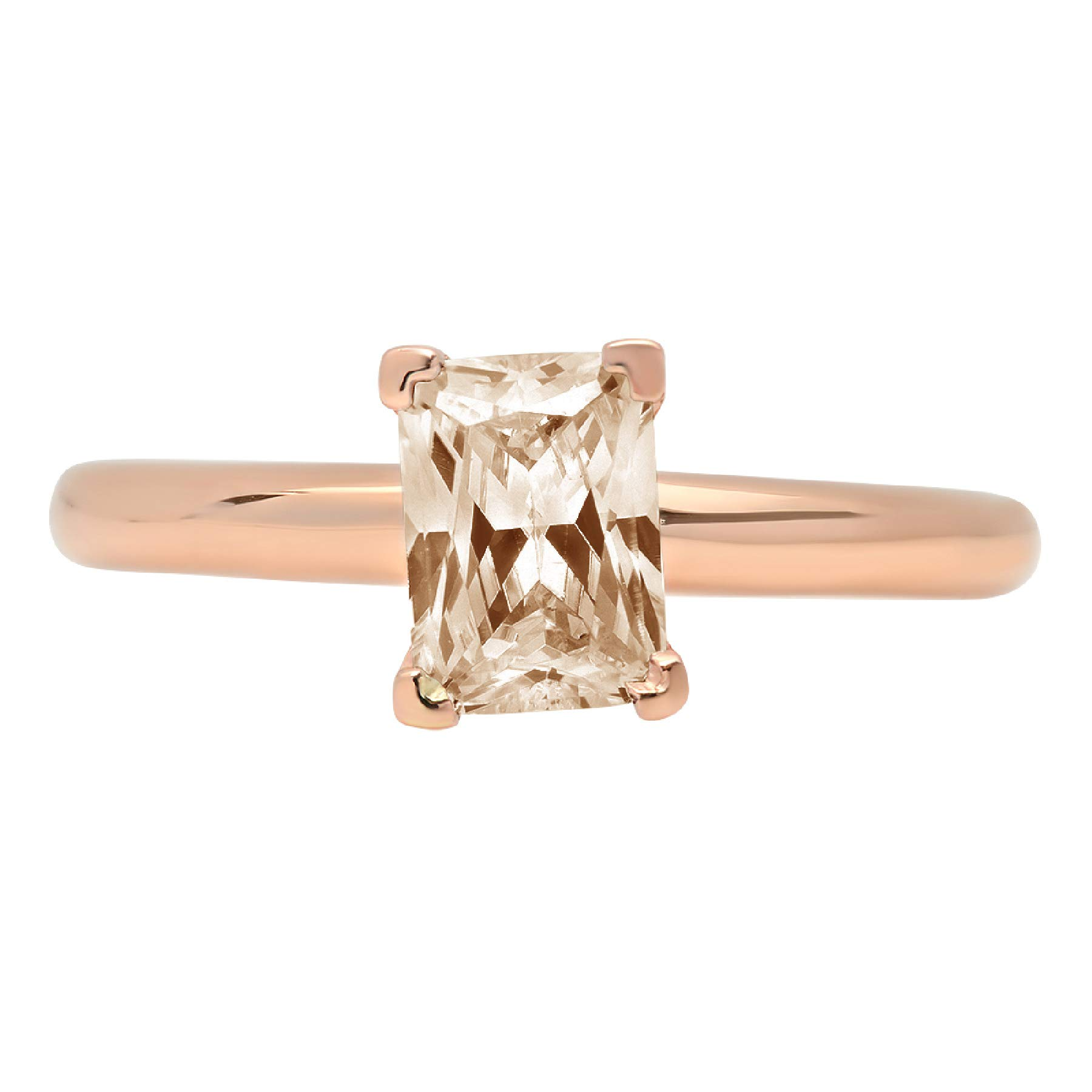 0.95ct Brilliant Emerald Cut Solitaire Brown Champagne Simulated Diamond CZ Ideal VVS1 D 4-Prong Classic Designer Statement Ring Solid Real 14k Rose Gold for Women