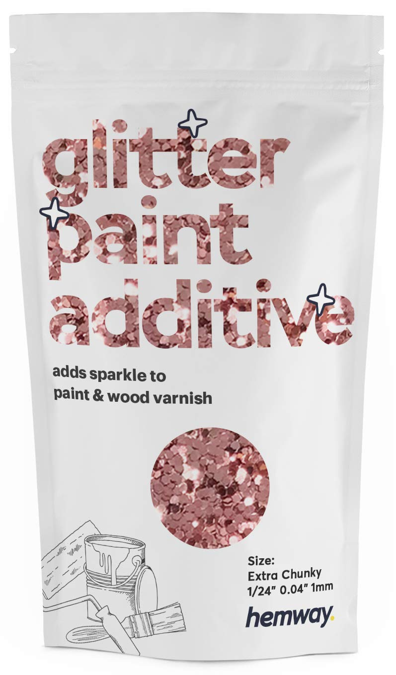 """Hemway Glitter Paint Additive Extra Chunky 1/24"""" 0.040"""" 1MM Emulsion Water Based Paints Wall Ceiling 100g / 3.5oz (Rose Gold)"""