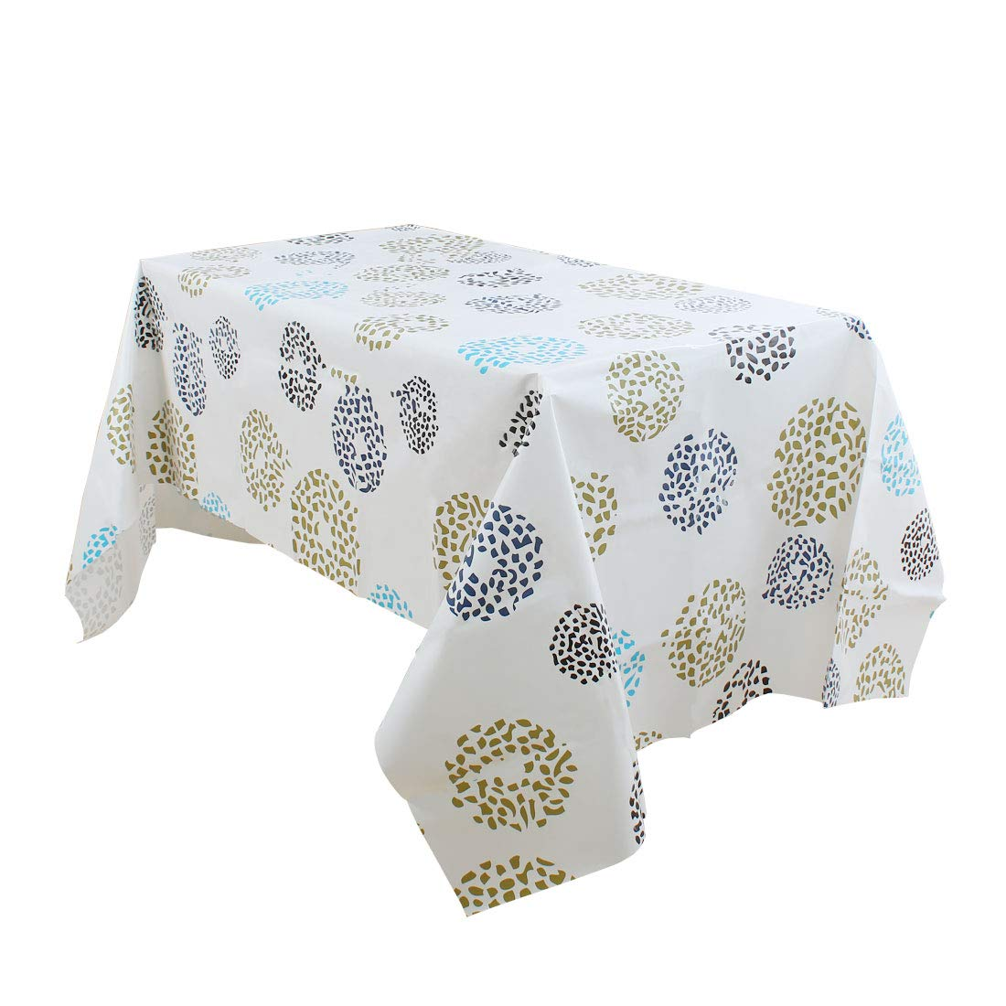uxcell Vinyl Rectangle Table Cover Wipe Clean PVC Tablecloth Oil-Proof/Waterproof Stain-Resistant - 55 x 55 Inch (Colored Circles)
