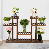 JOYBASE Wood Plant Stand, Garden Plant Rack Outdoor, Multi-Functional Storage Display Rack (4-Story 12-Seat)