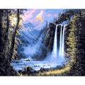 Faraway Beautiful Waterfall 5D DIY Full Round Drill Diamond Painting Rhinestone Wall Decor 16X20inch