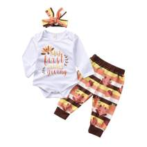 bilison My First Thanksgiving Clothes Newborn Baby Boy Outfit Cotton Long Sleeve Romper+Striped Turkey Pants