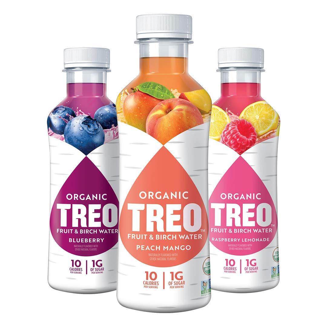 Treo Fruit & Birch Water Drink Variety Pack, USDA Organic, Non-GMO Project Verified, Vegan, Gluten-Free, 10 Calories & 1g of Sugar Per Serving, Good Source of Vitamin C, 16 fl oz, Pack of 12